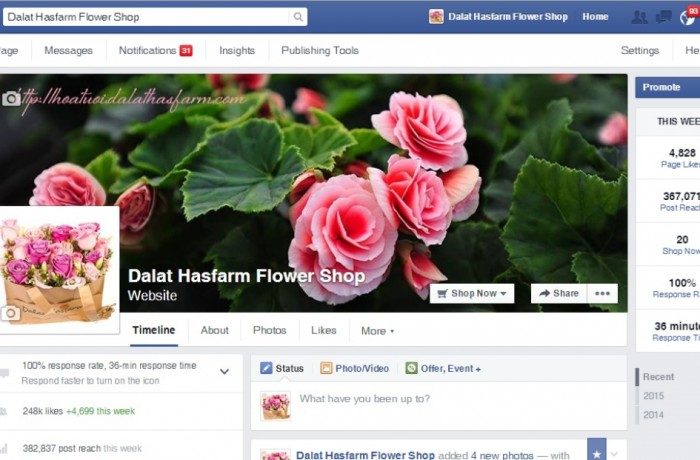 Facebook Fanpage of Dalat Hasfarm has become the 2nd most popular flower fanpage and the most interactive page in Vietnam
